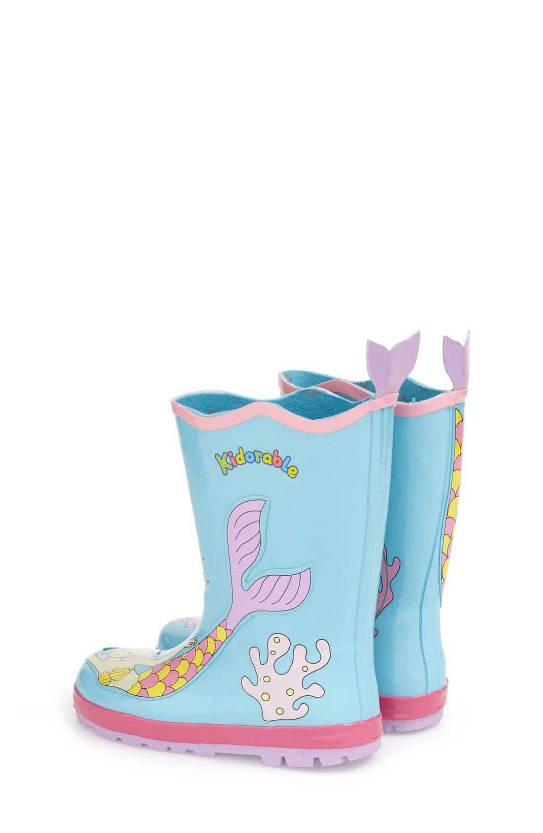 'Mermaid' Waterproof Rain Boot,                             Alternate thumbnail 2, color,                             Blue