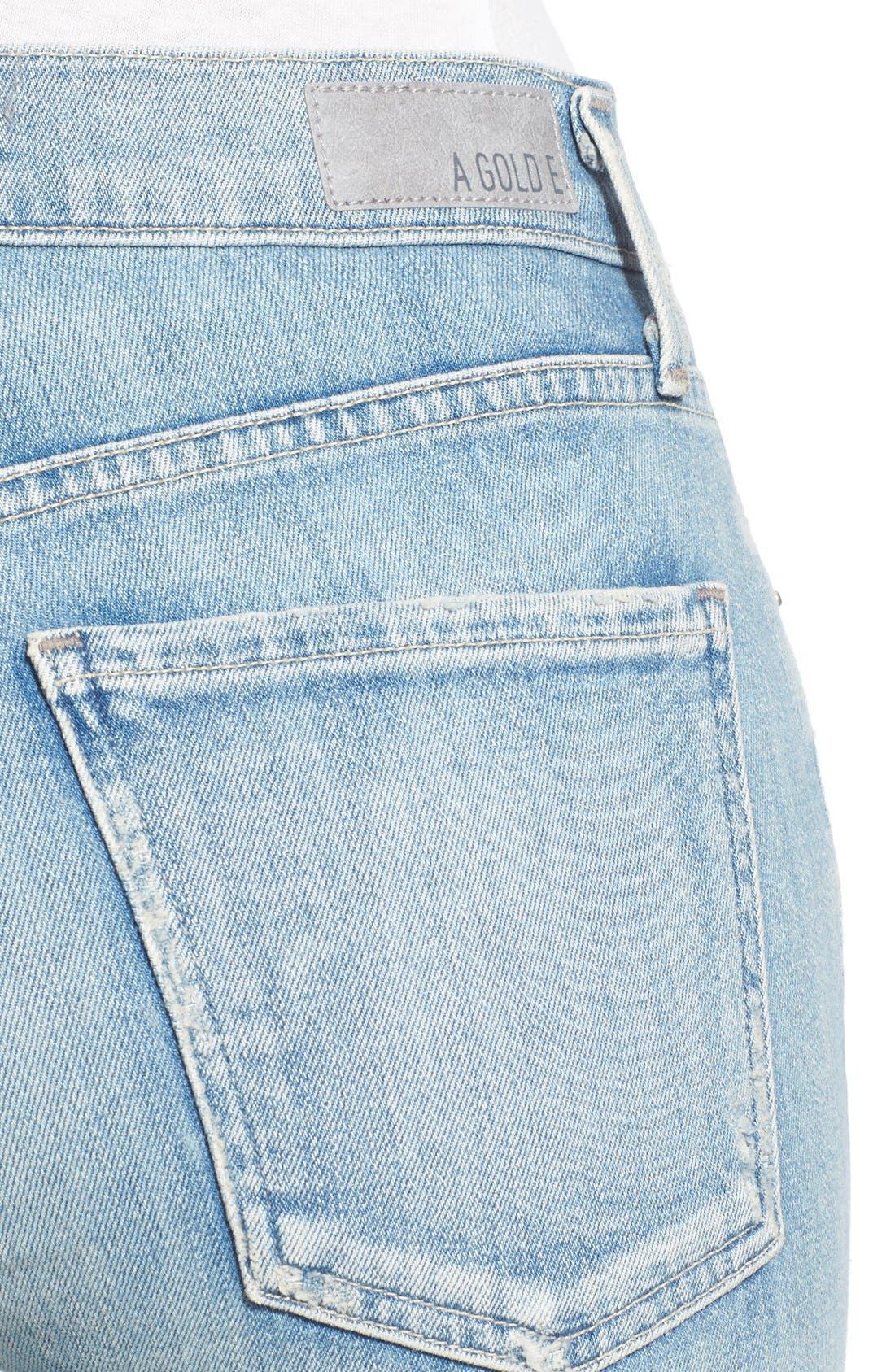 Alternate Image 4  - A Gold E 'Sophie' Crop Skinny Jeans (Blue Lagoon)