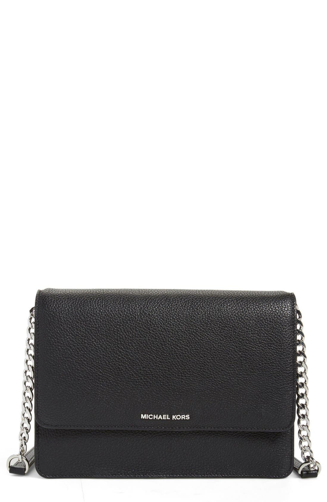 'Large Daniela' Leather Crossbody Bag,                         Main,                         color, Black/ Silver