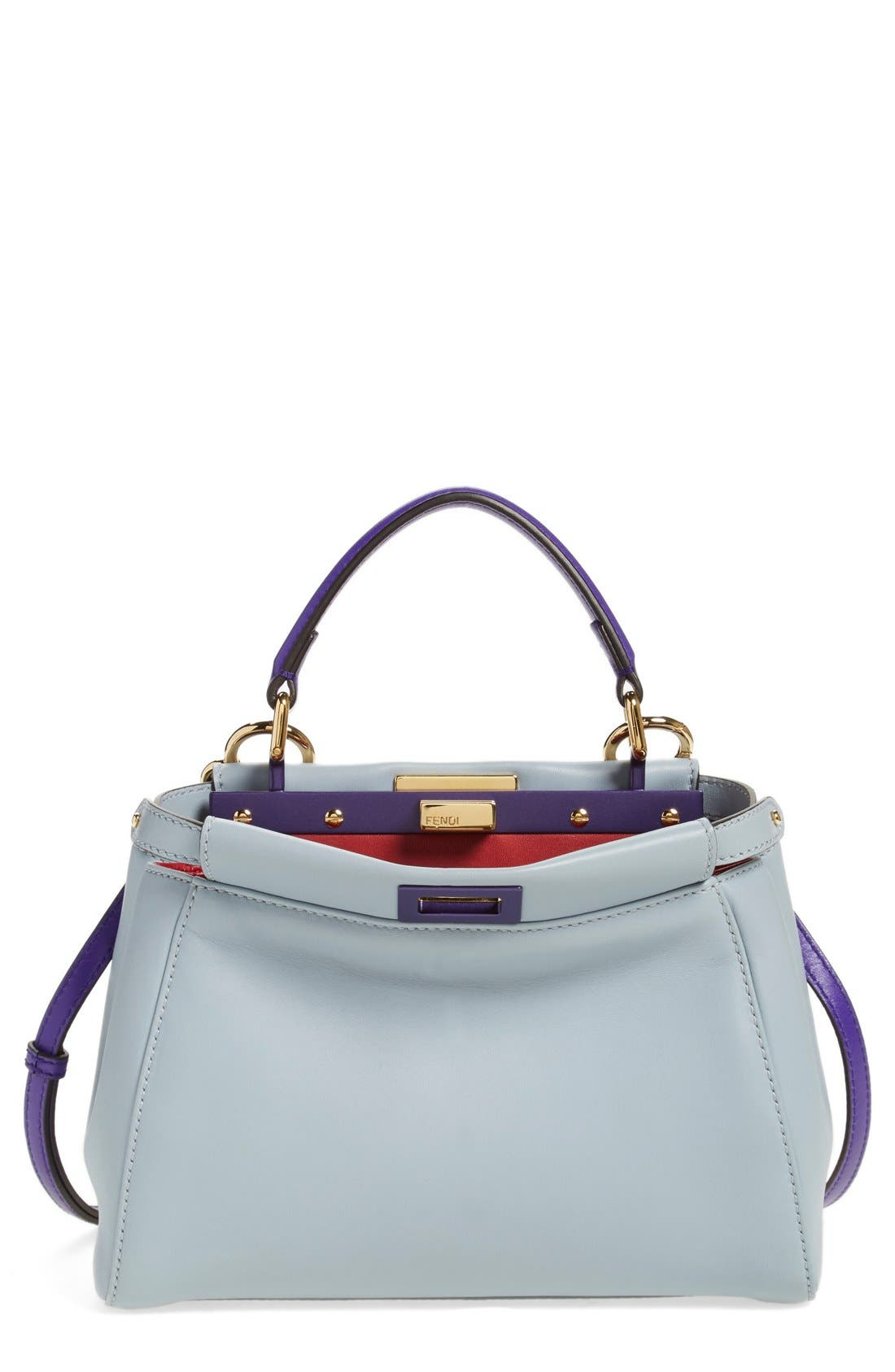 'Mini Peekaboo' Colorblock Leather Bag,                             Alternate thumbnail 2, color,                             Powder/Purple Ruby