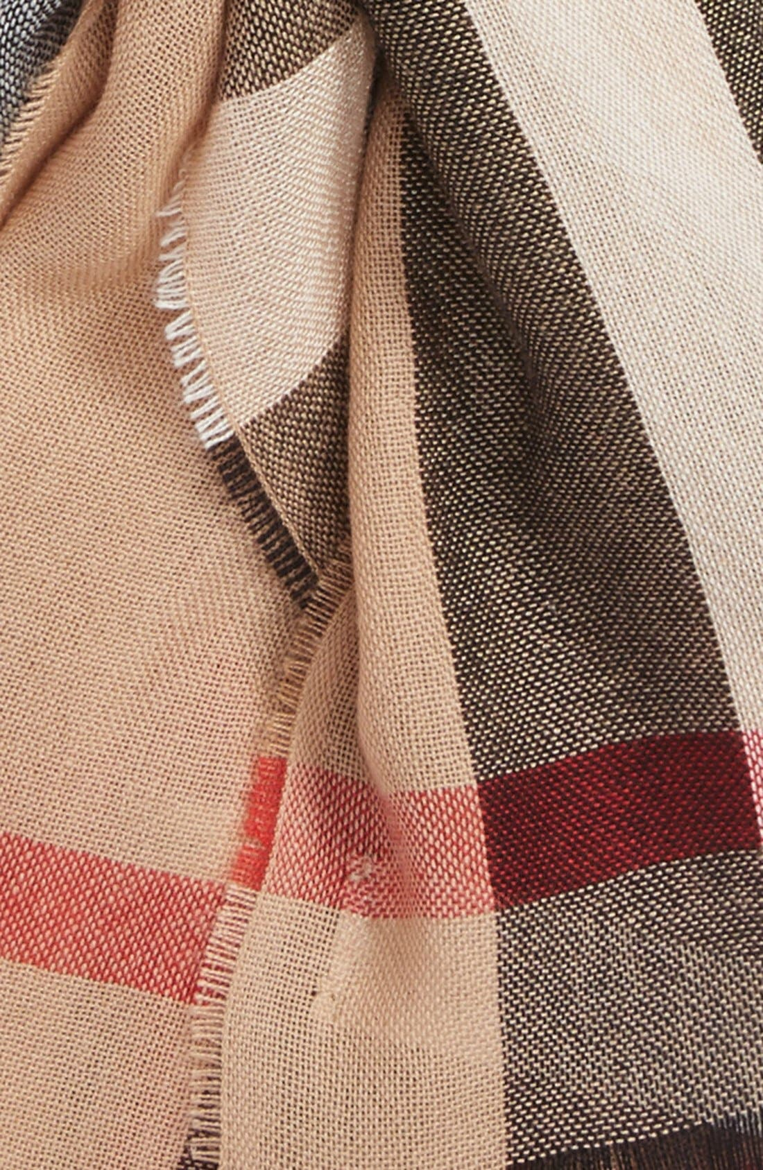 Check Wool & Cashmere Scarf,                             Alternate thumbnail 3, color,                             Camel