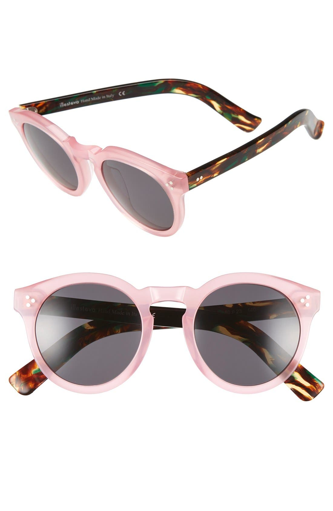 'Leonard II' 50mm Round Mirrored Sunglasses,                         Main,                         color, Pink/ Forest