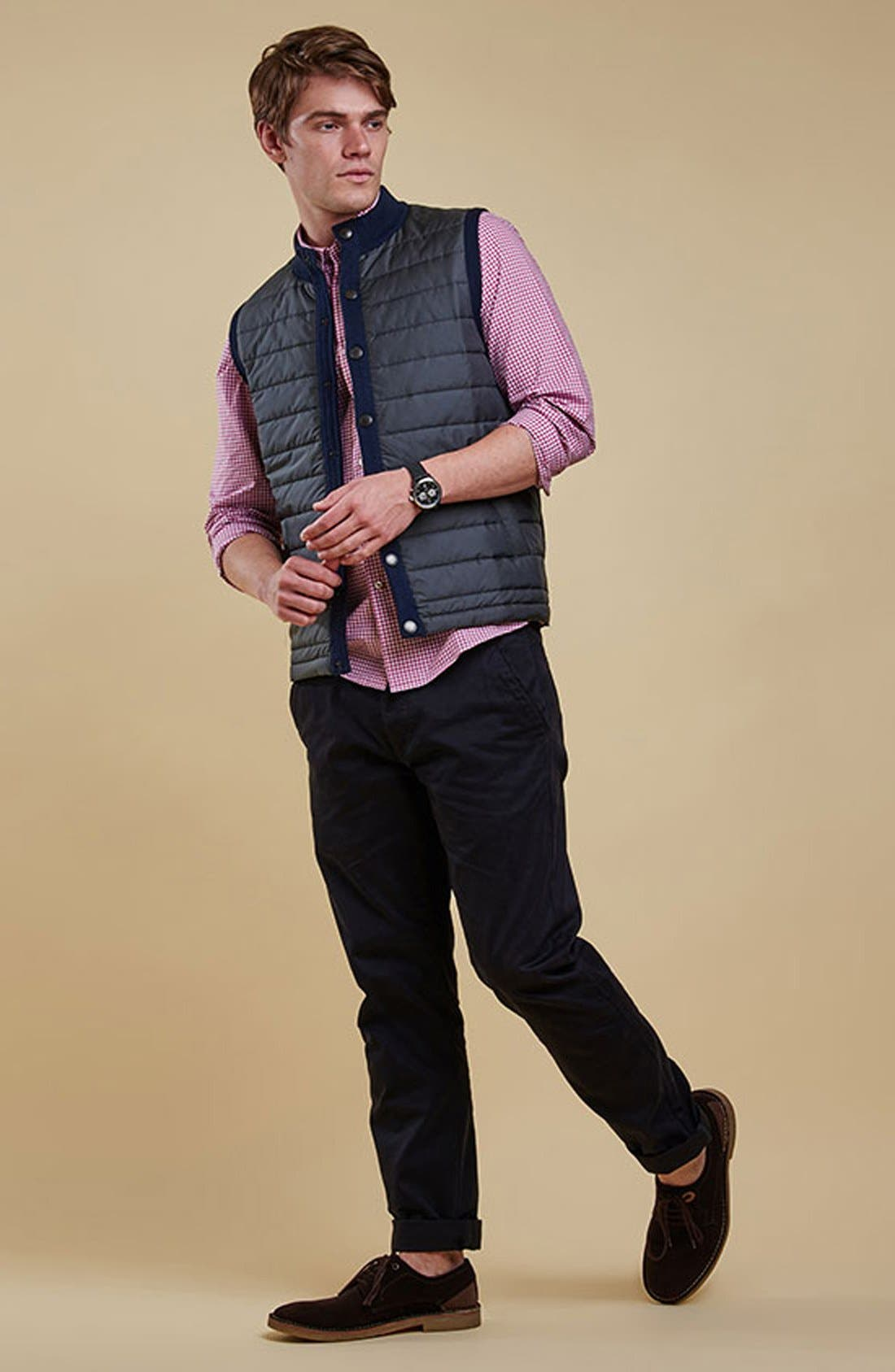 'Essential' Tailored Fit Mixed Media Vest,                             Alternate thumbnail 5, color,                             Navy