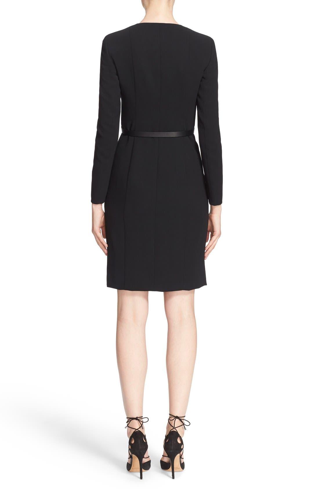 Alternate Image 2  - Akris Belted Zip Front Wool Blend Dress