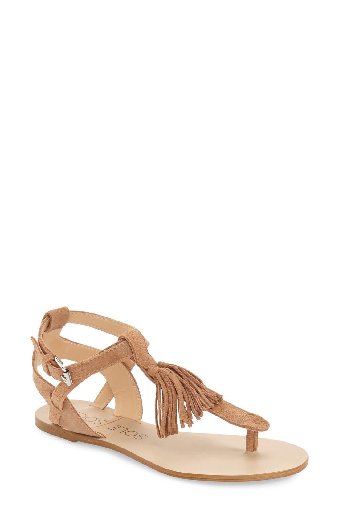 'Pandora' Fringe Sandal,                         Main,                         color, Caramel