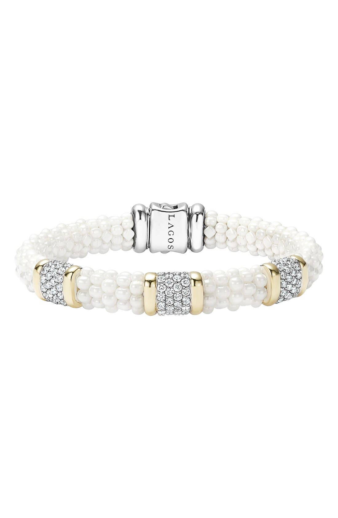 LAGOS White Caviar Three Station Diamond Bracelet