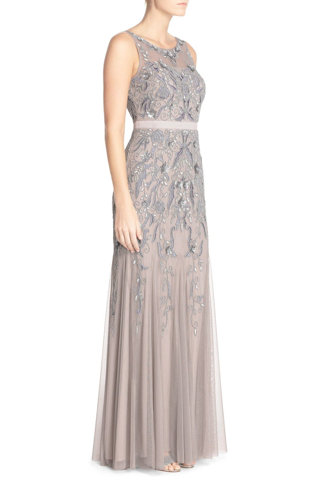 Alternate Image 3  - Adrianna Papell Embellished Mesh Gown (Regular & Petite)