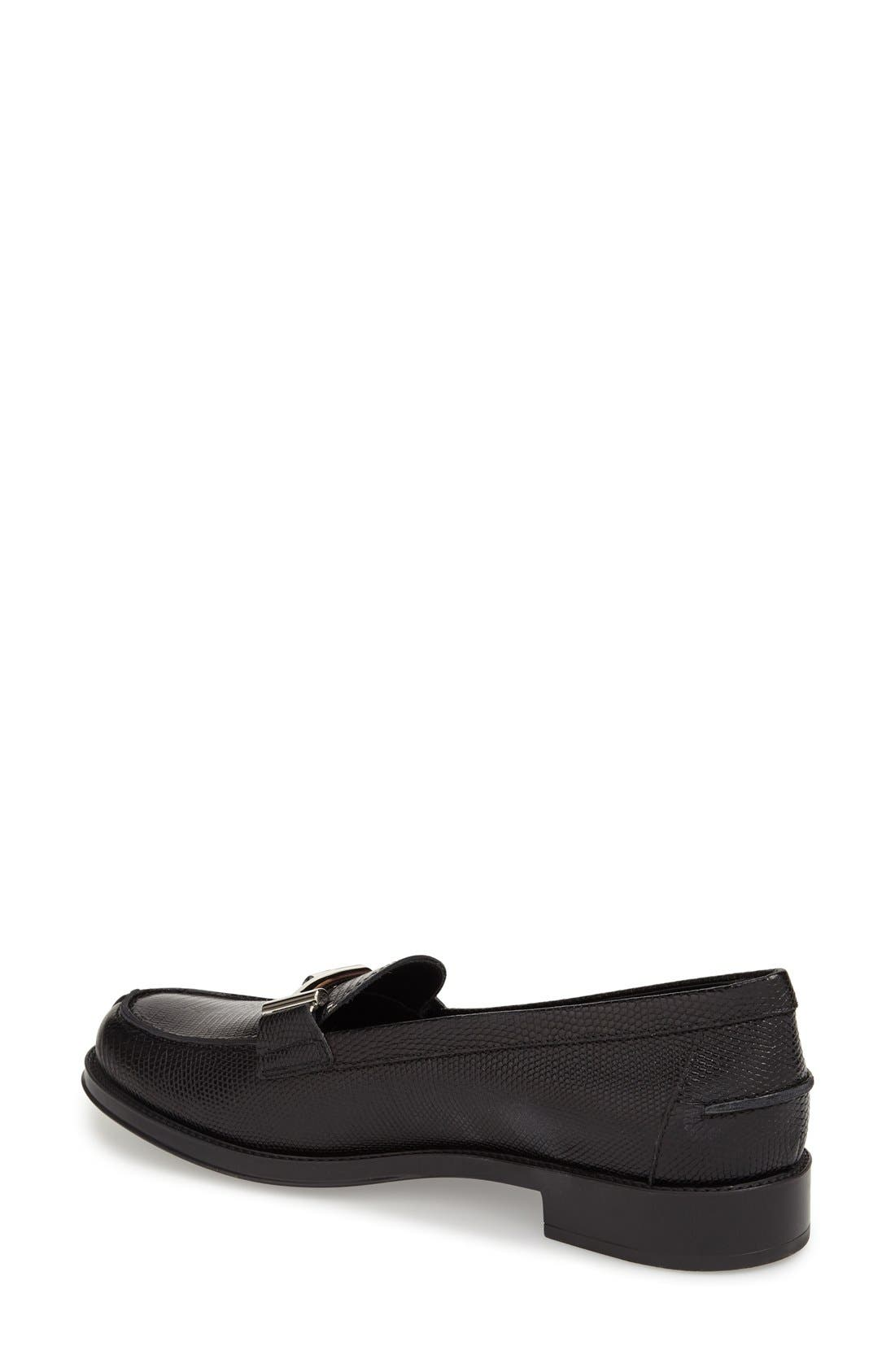'Double T' Loafer,                             Alternate thumbnail 2, color,                             Black