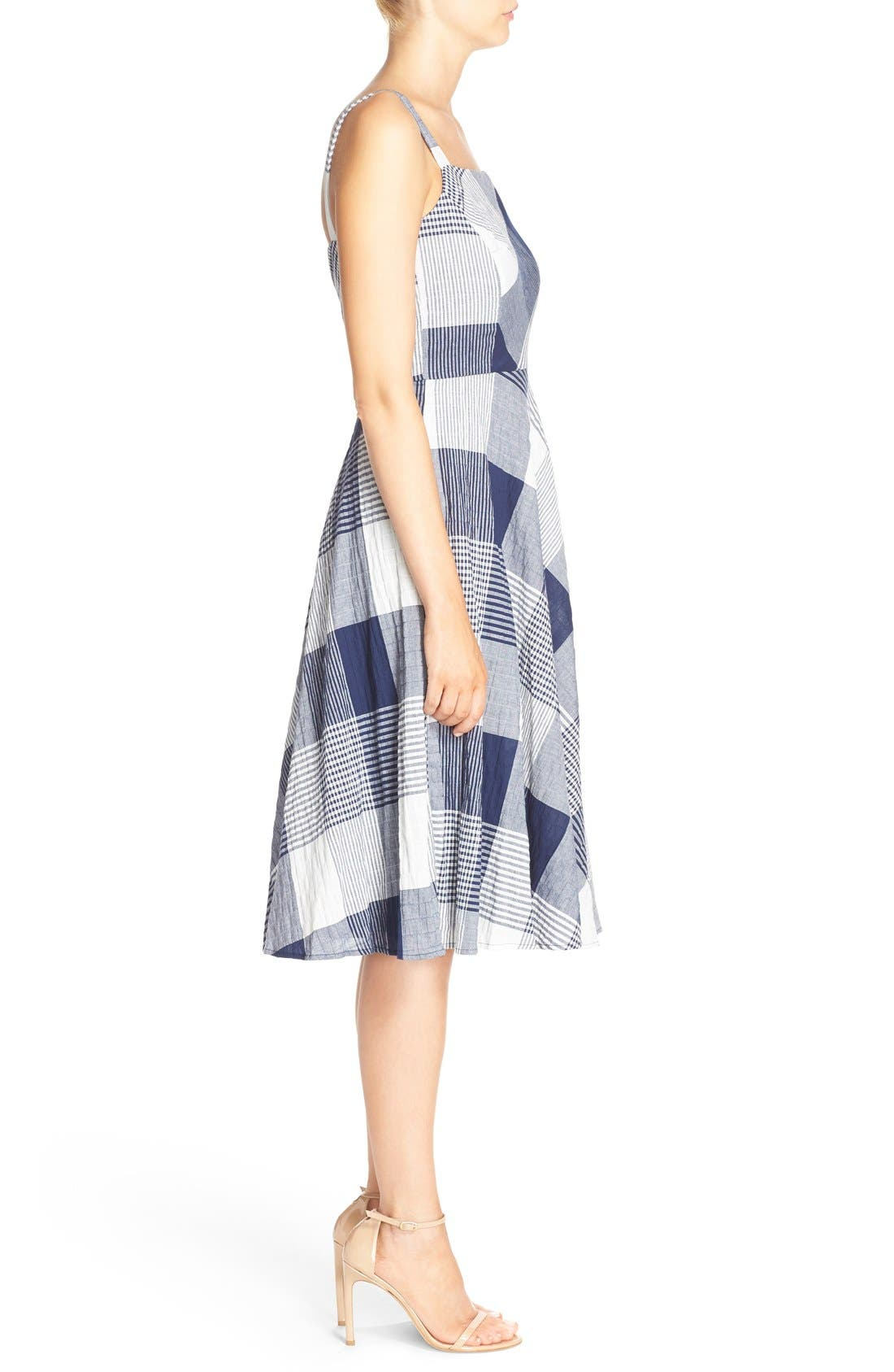 Alternate Image 3  - Taylor Dresses Check Stretch Cotton Fit & Flare Dress