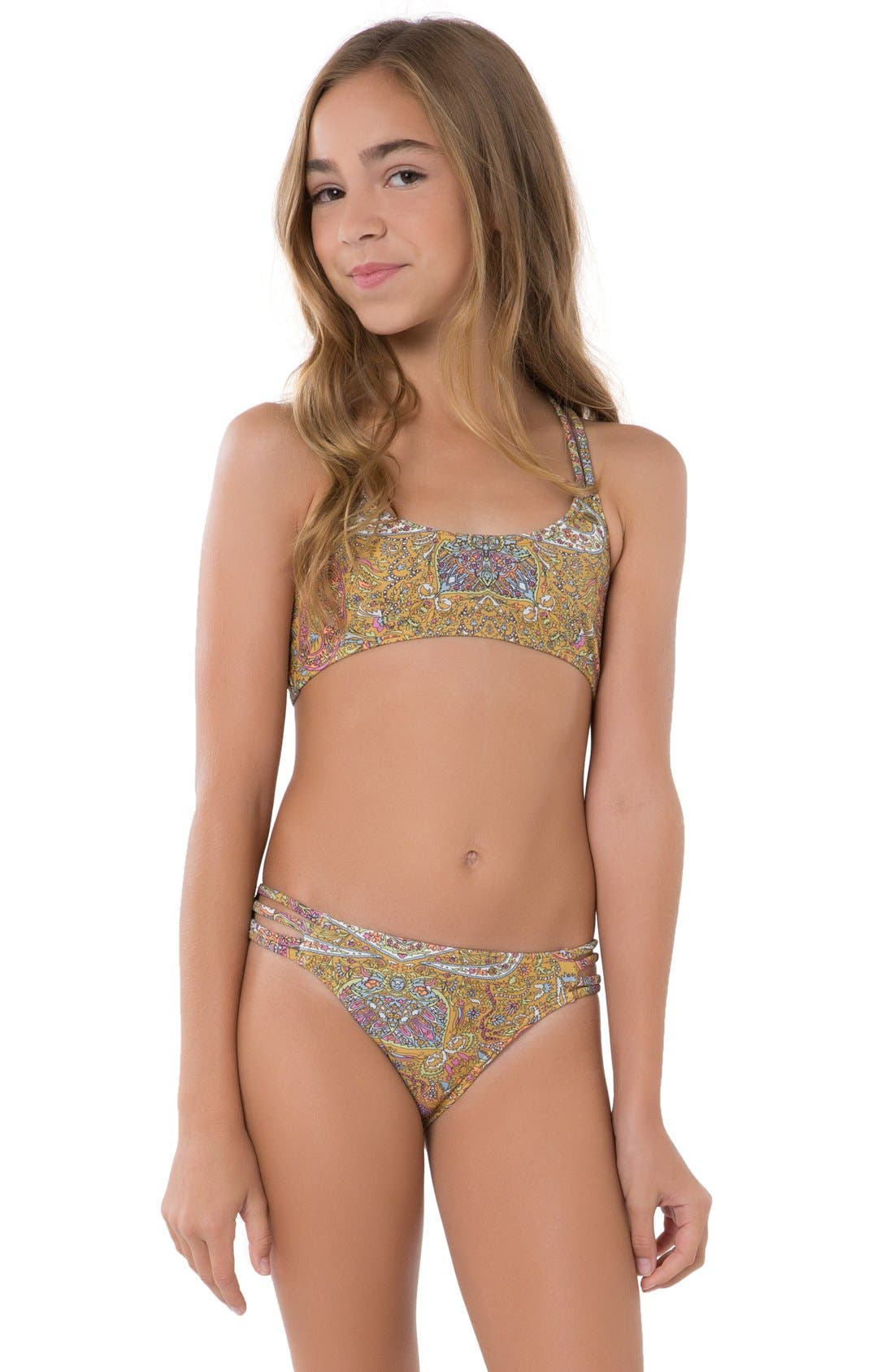 O Neill Cozmo Strappy Two Piece Swimsuit Little Girls