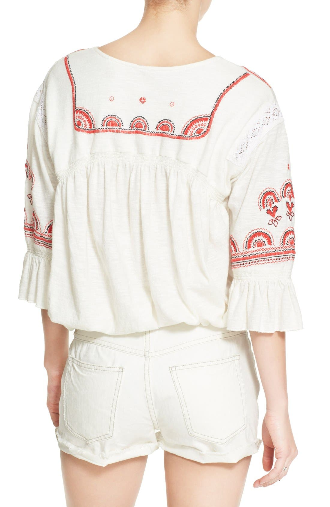 Alternate Image 2  - Free People 'Chiquita' Embroidered Peasant Top