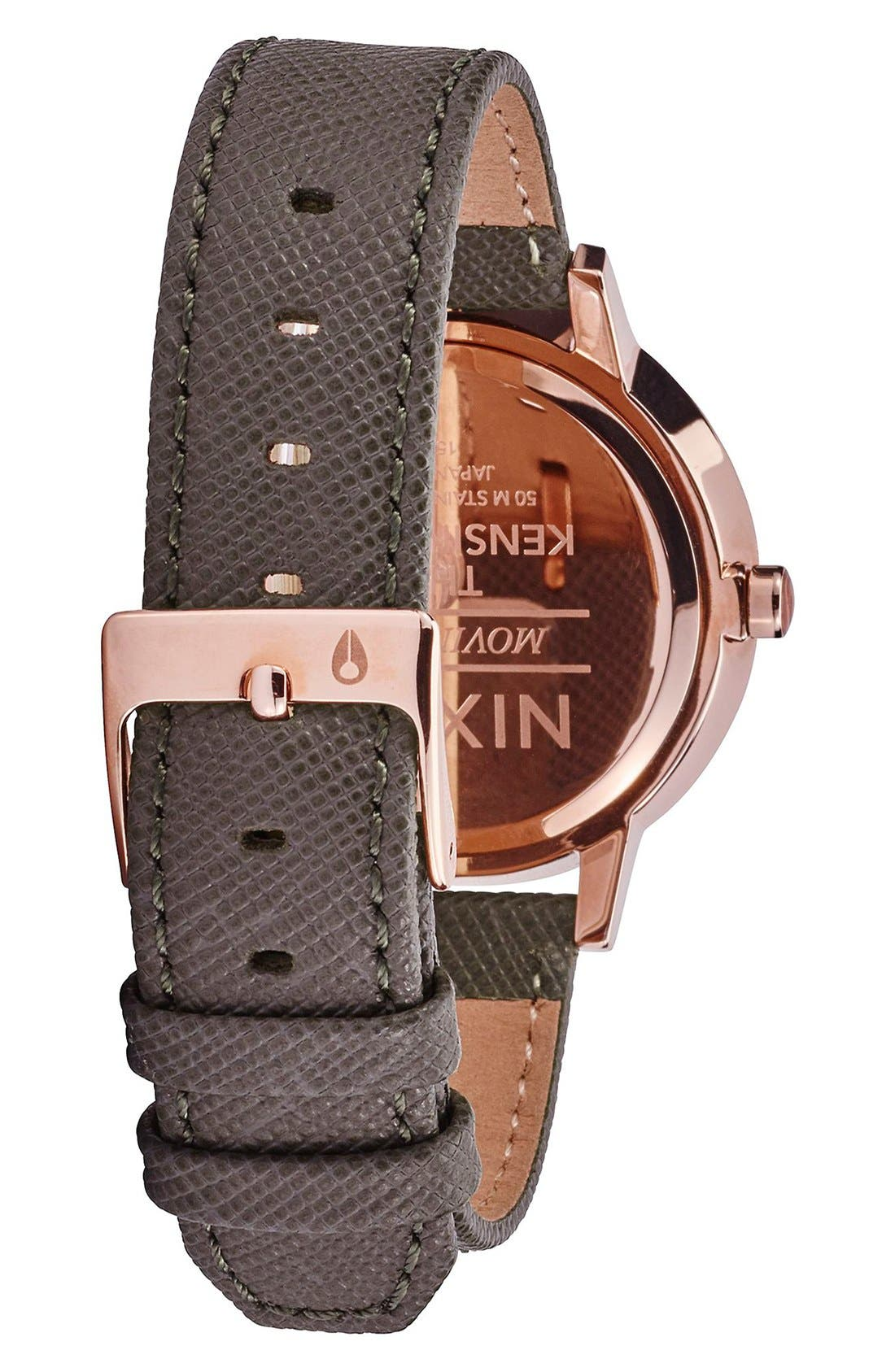 'Kensington' Leather Strap Watch, 37mm,                             Alternate thumbnail 2, color,                             Brown/ Rose Gold/ Taupe