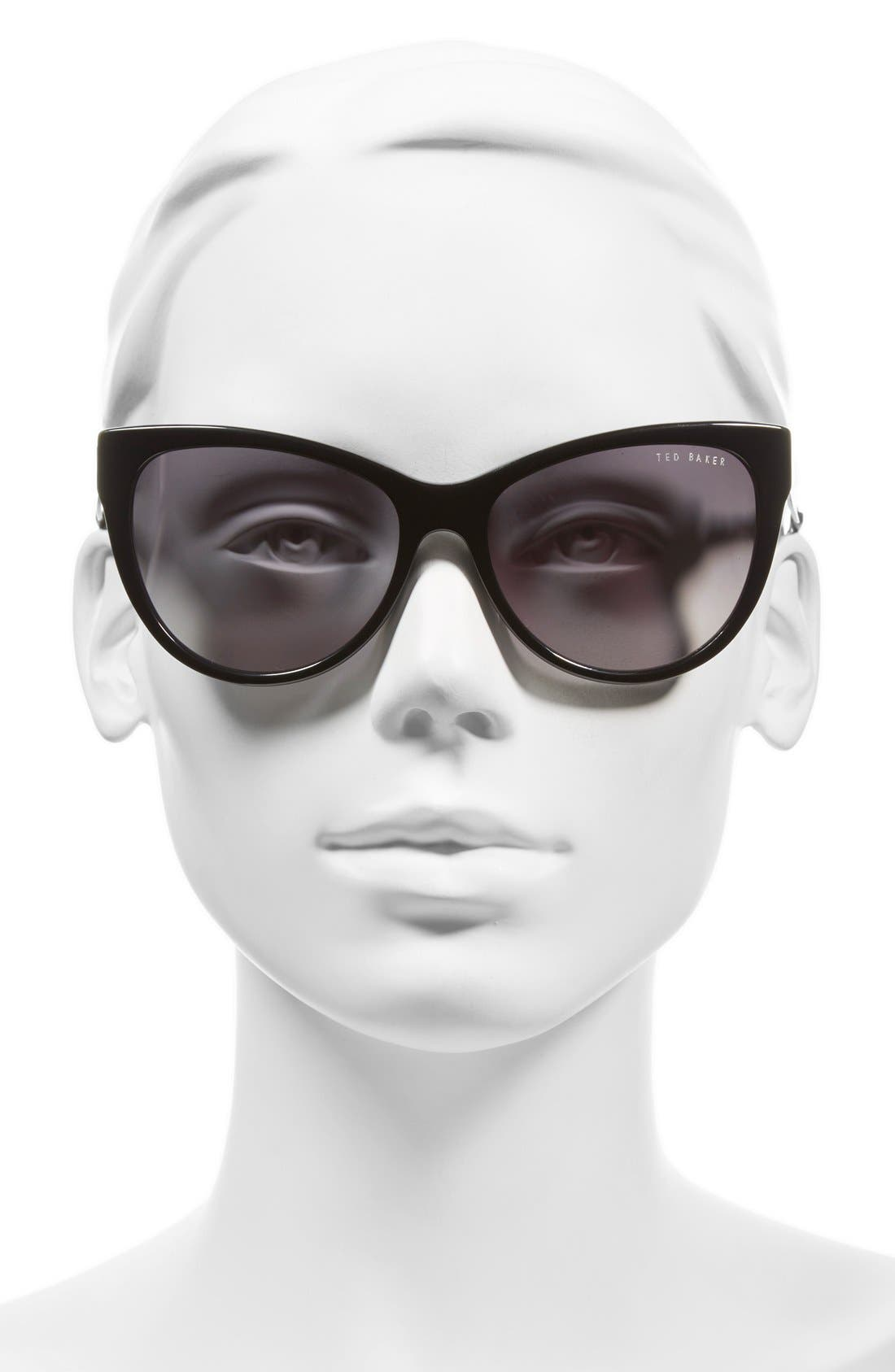 57mm Cat Eye Sunglasses,                             Alternate thumbnail 2, color,                             Black
