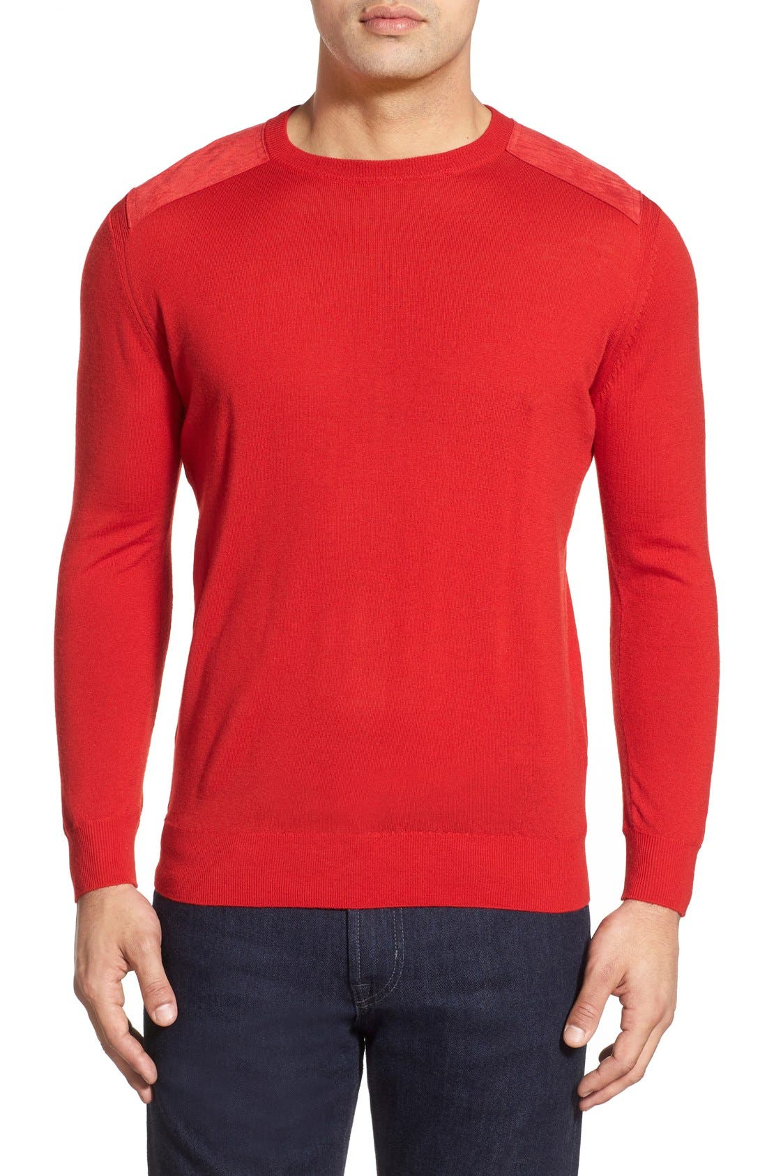 Regular Fit Crewneck Sweater,                             Main thumbnail 1, color,                             Cherry