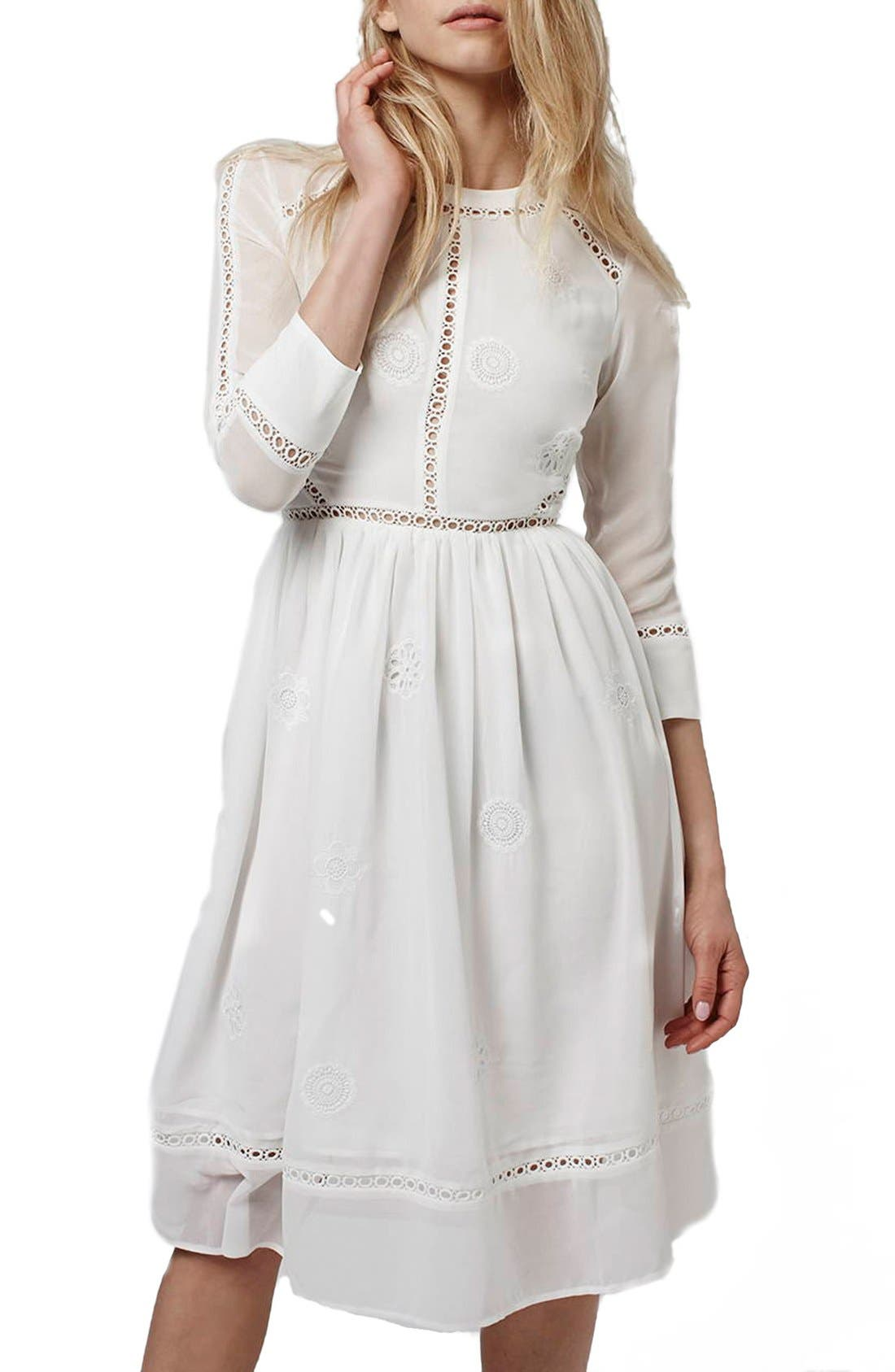 Alternate Image 1 Selected - Topshop 'Puritan' Cutwork Midi Dress