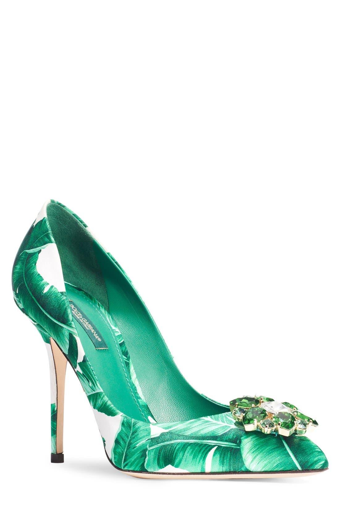 Alternate Image 1 Selected - Dolce&Gabbana Banana Leaf Pointy Toe Pump (Women)