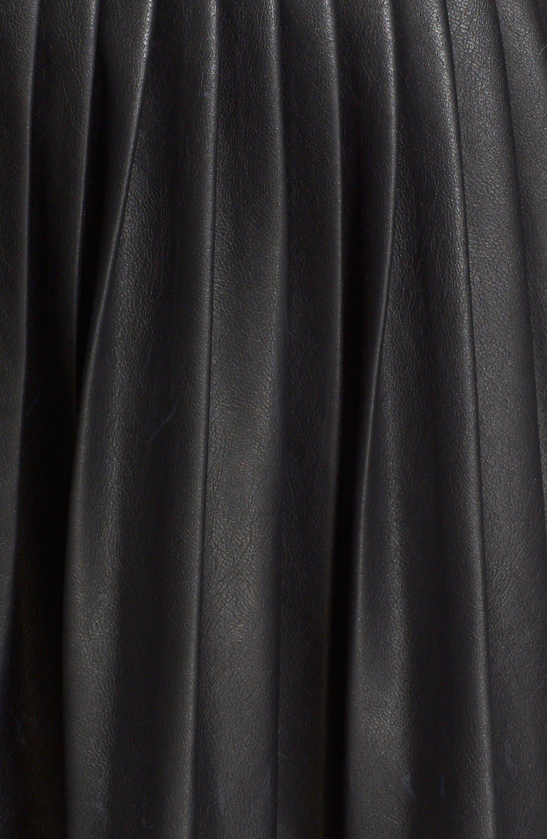 Faux Leather Pleated Drop Yoke Skirt,                             Alternate thumbnail 5, color,                             Black
