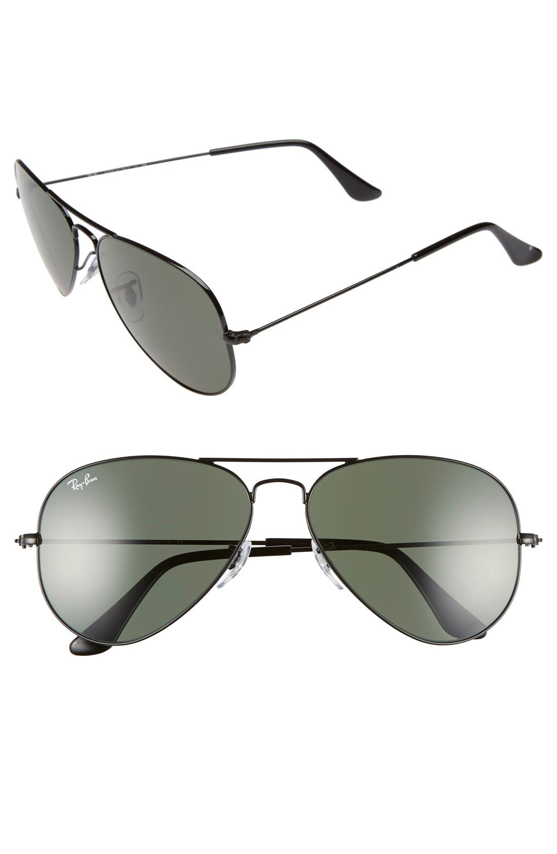 Standard Original 58mm Aviator Sunglasses,                         Main,                         color, Black