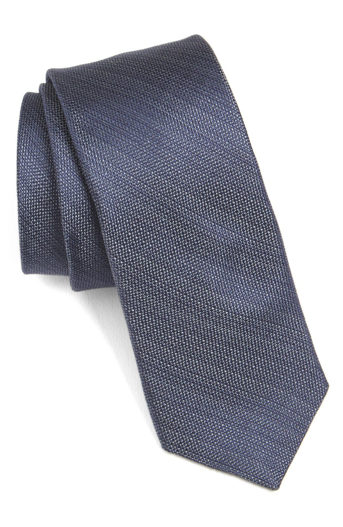 Solid Skinny Silk Tie,                             Main thumbnail 1, color,                             Navy/ Grey