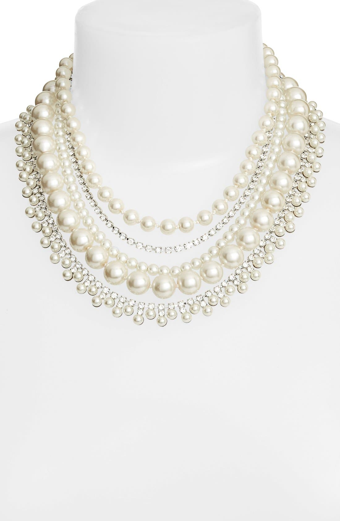 Crystal & Imitation Pearl Multristrand Necklace,                             Alternate thumbnail 2, color,                             Cream