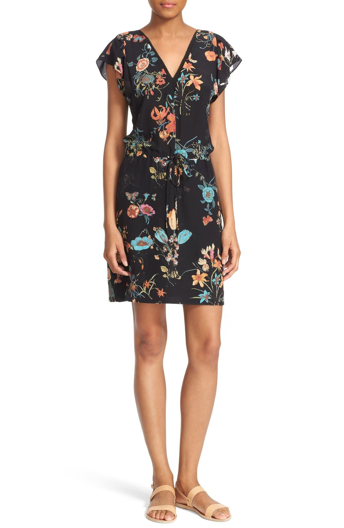 Main Image - Rebecca Taylor 'Meadow Floral' Print Silk V-Neck Dress