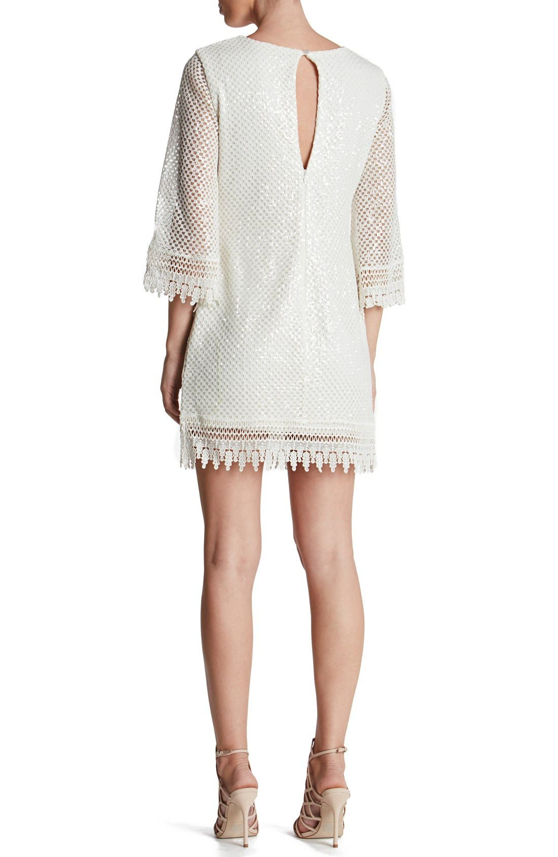 'Phoebe' Sequin Crochet Shift Dress,                             Alternate thumbnail 2, color,                             White