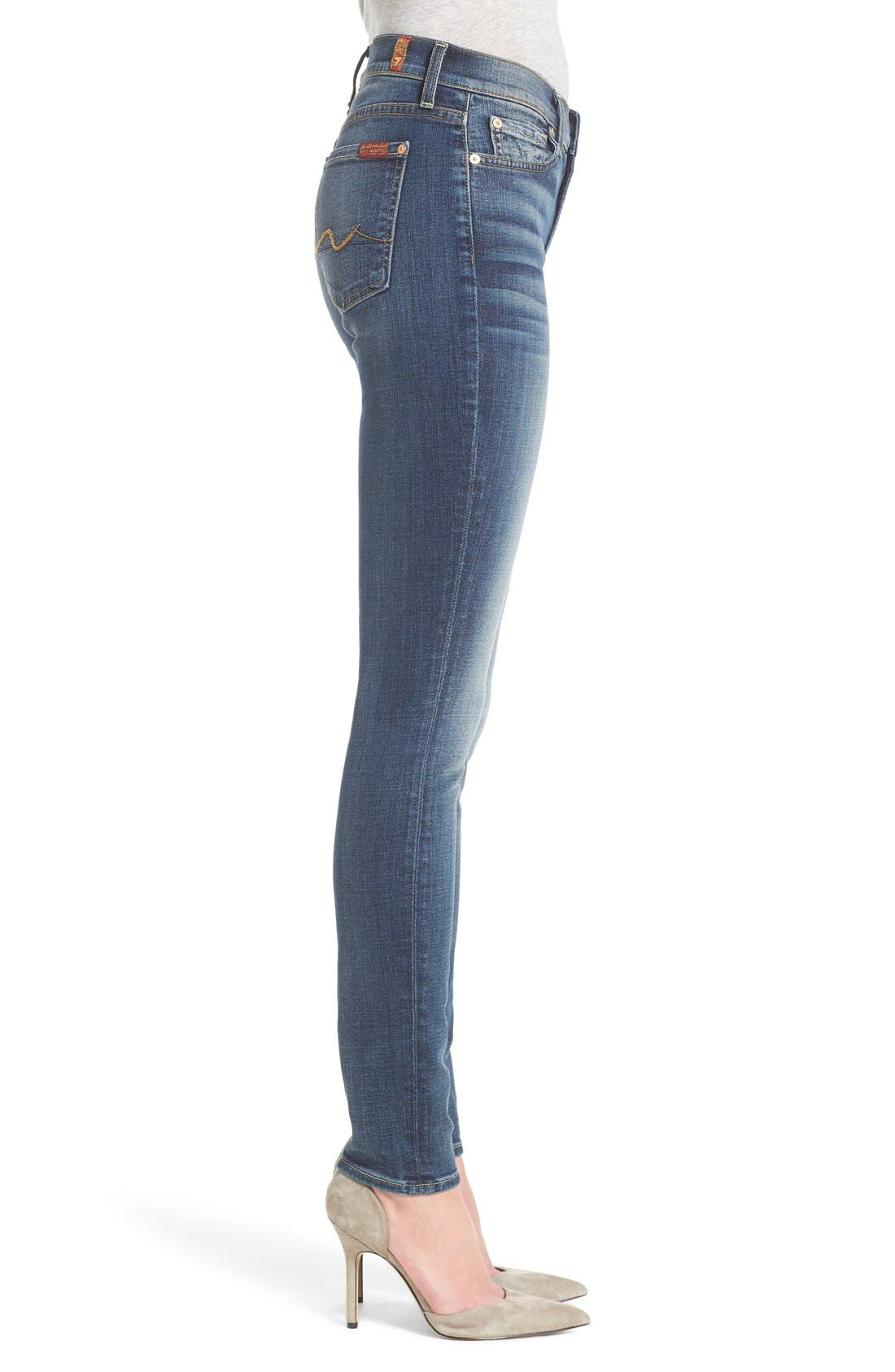 Alternate Image 2  - 7 For All Mankind® Destroyed Skinny Jeans (Stretch Blue Orchid)