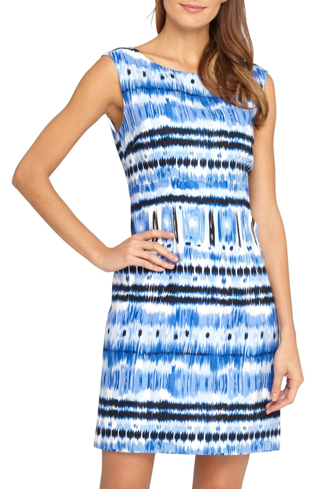 Main Image - Tahari Ikat Print Linen Blend Sheath Dress (Petite)