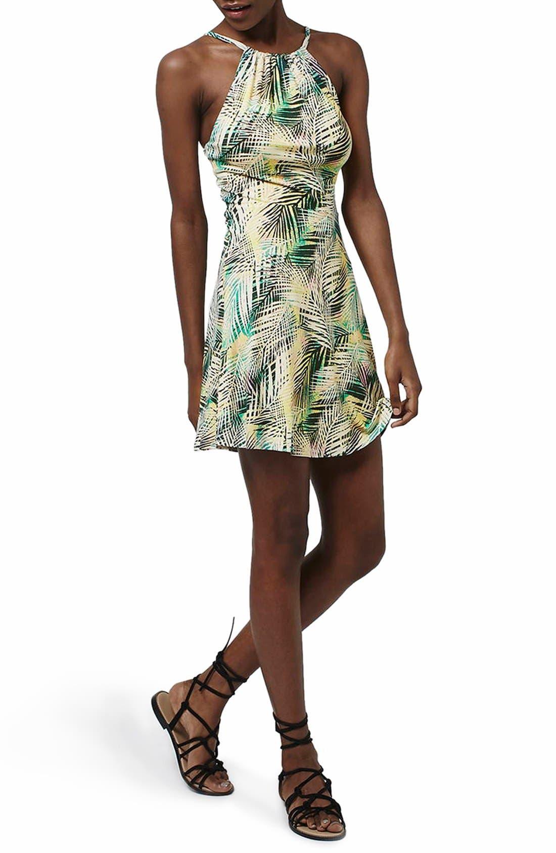 Main Image - Topshop Tropical Print Flippy Dress (Regular & Petite)