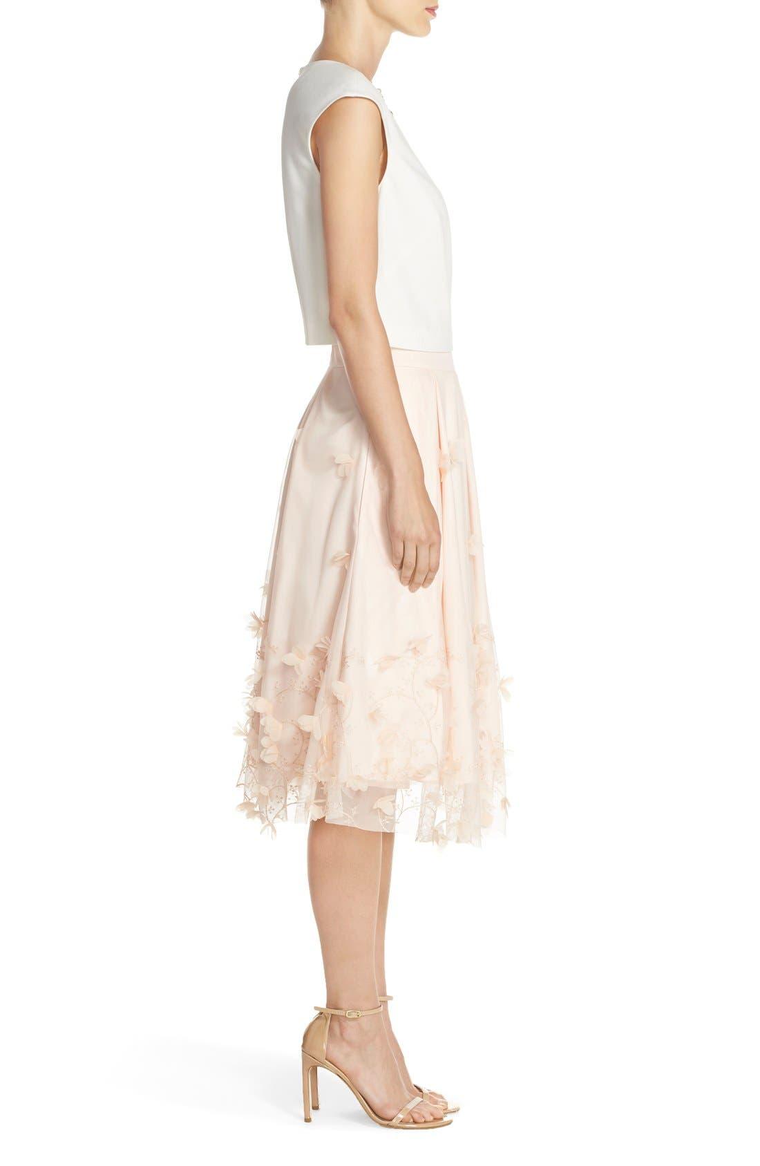 Alternate Image 3  - Eliza J Floral Appliqué Ball Skirt