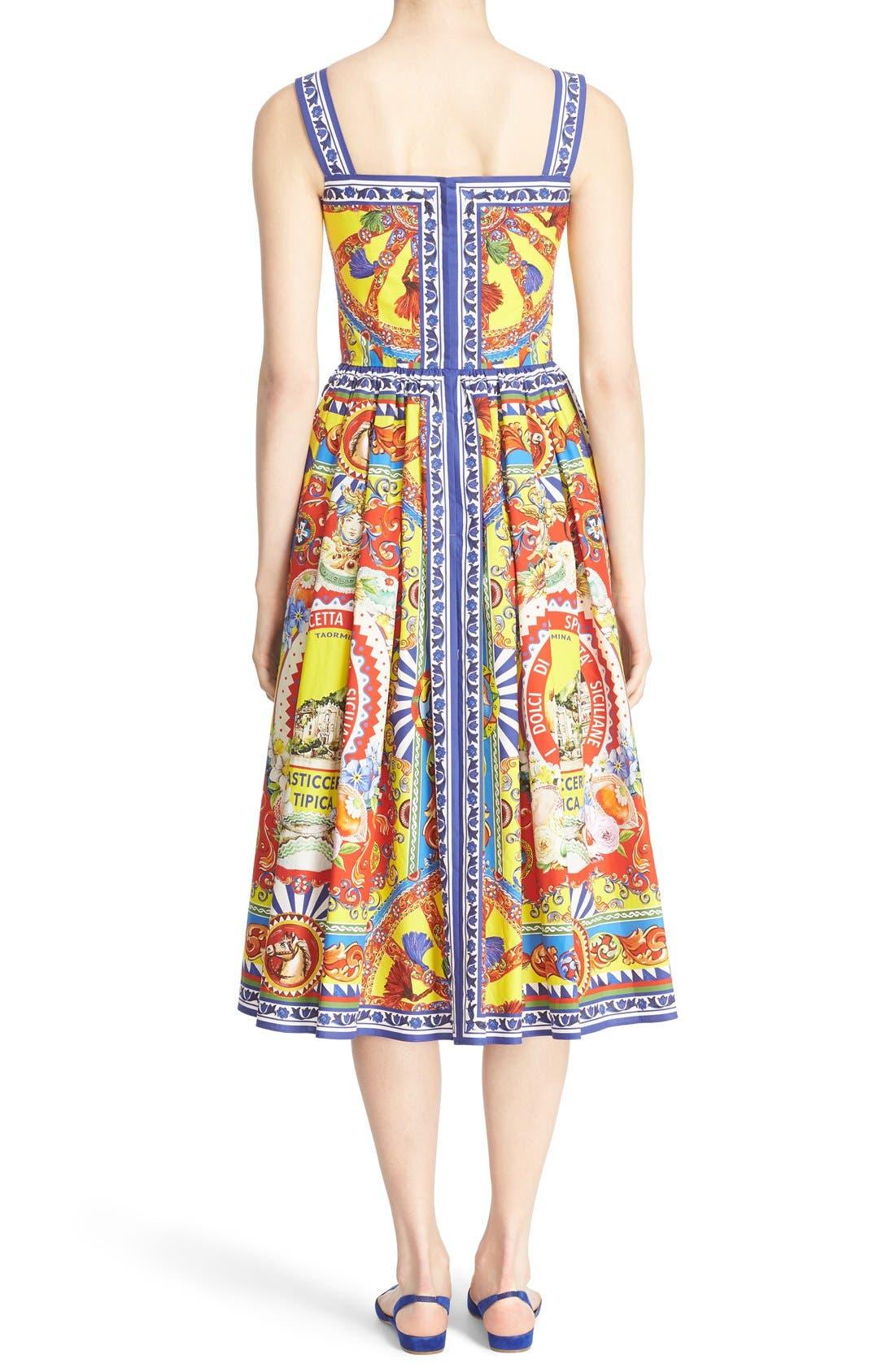 Alternate Image 2  - Dolce&Gabbana Carretto Print Cotton Poplin Dress