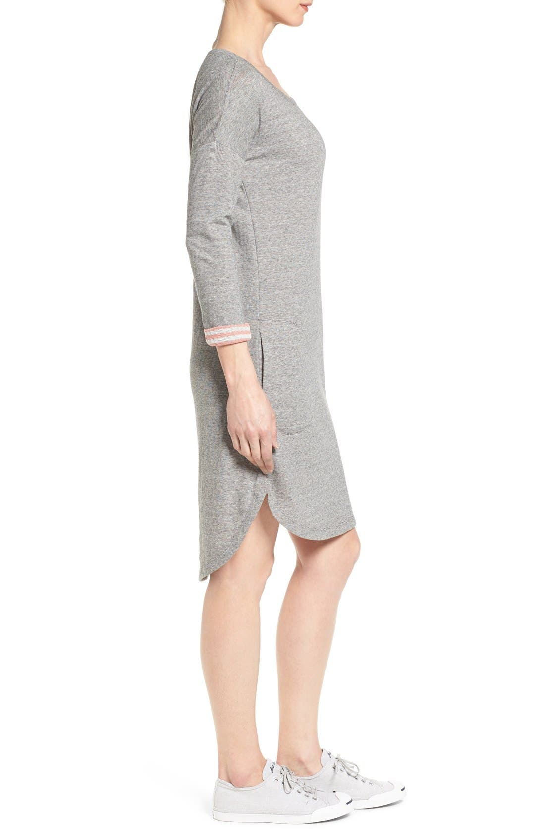 Contrast Cuff Double Knit Dress,                             Alternate thumbnail 3, color,                             Grey- Coral Pattern