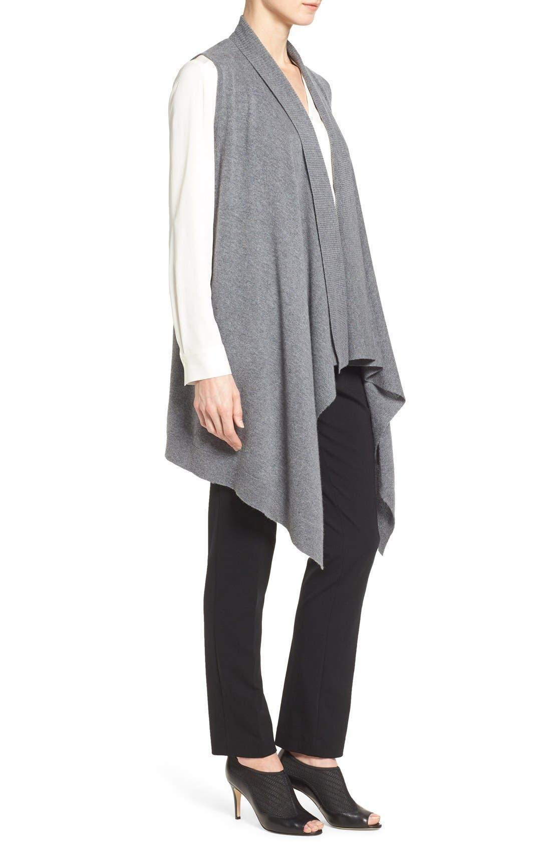 Wool & Cashmere Drape Front Sweater Vest,                             Alternate thumbnail 3, color,                             Heather Dark Grey