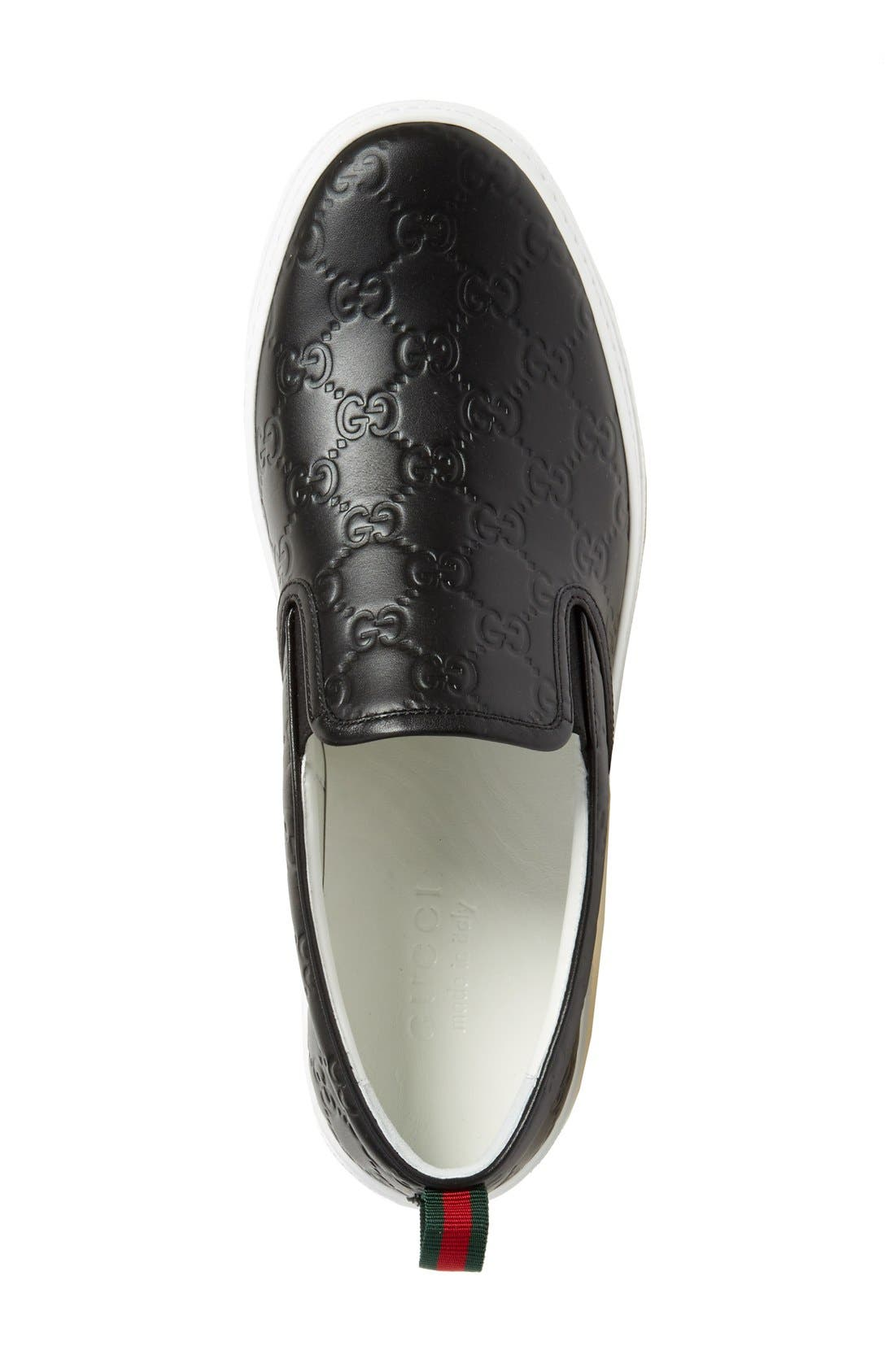 Dublin Slip-On Sneaker,                             Alternate thumbnail 3, color,                             Nero Embossed Leather