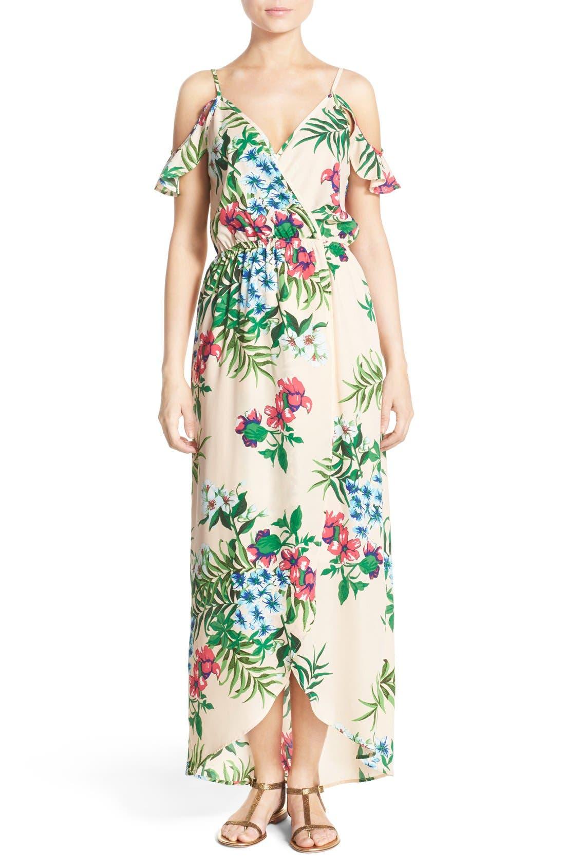 Cold Shoulder High/Low Maxi Dress,                             Main thumbnail 1, color,                             Peach