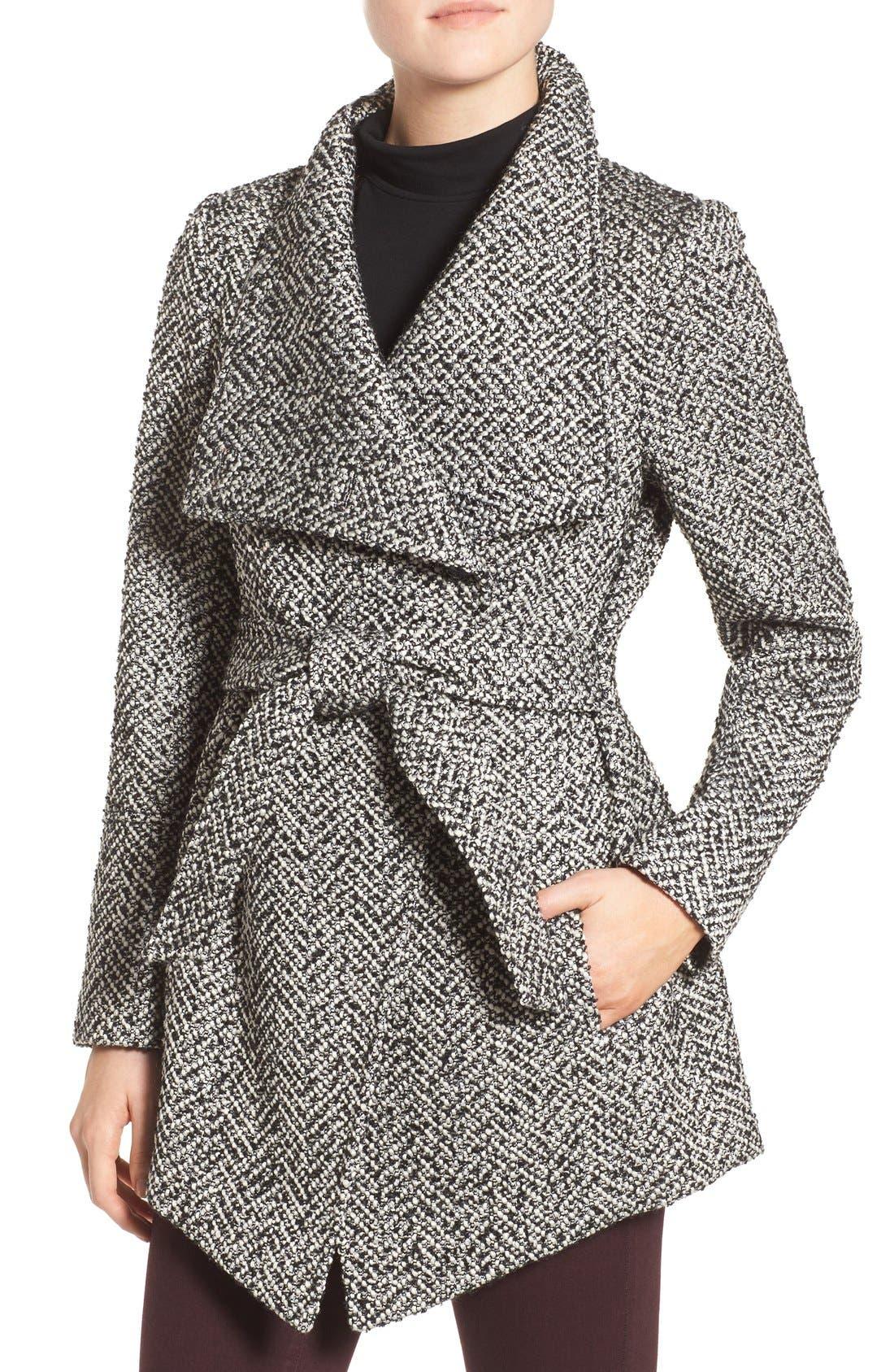 Belted Tweed Coat,                         Main,                         color, Black White Tweed