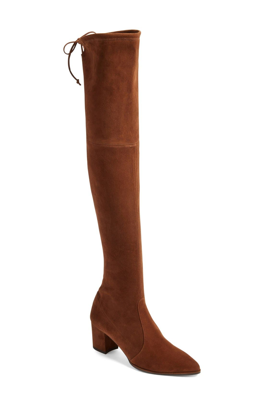 Thighland Over the Knee Boot,                             Main thumbnail 1, color,                             Walnut Suede