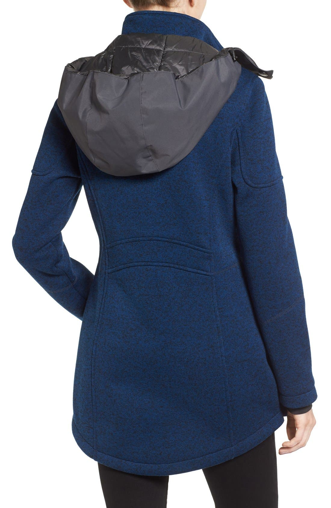 Bonded Knit Zip Front Jacket,                             Alternate thumbnail 2, color,                             Navy