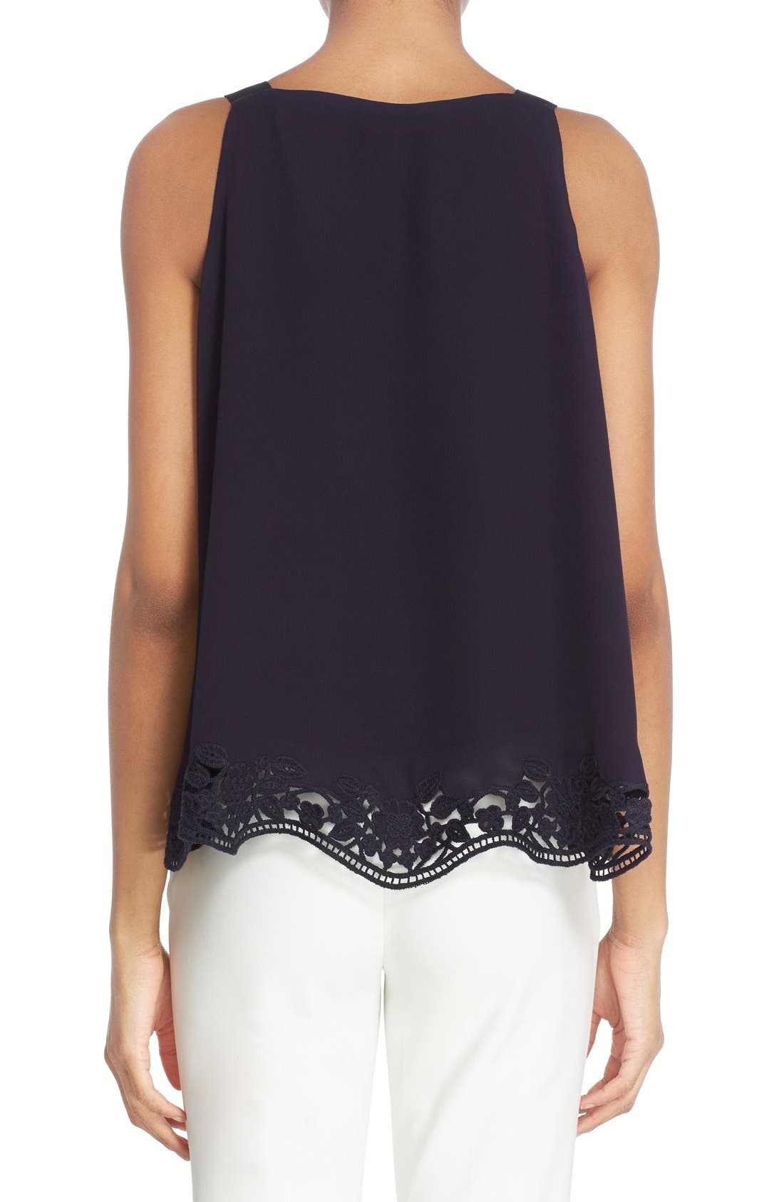 Alternate Image 2  - kate spade new york embroidered trim silk swing top