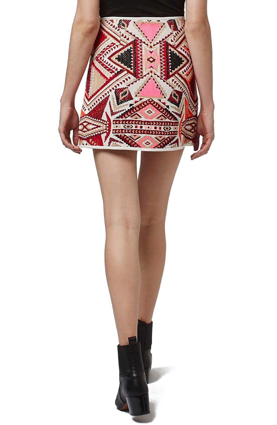 Alternate Image 2  - Topshop 'Desert Traveller' Jacquard Miniskirt