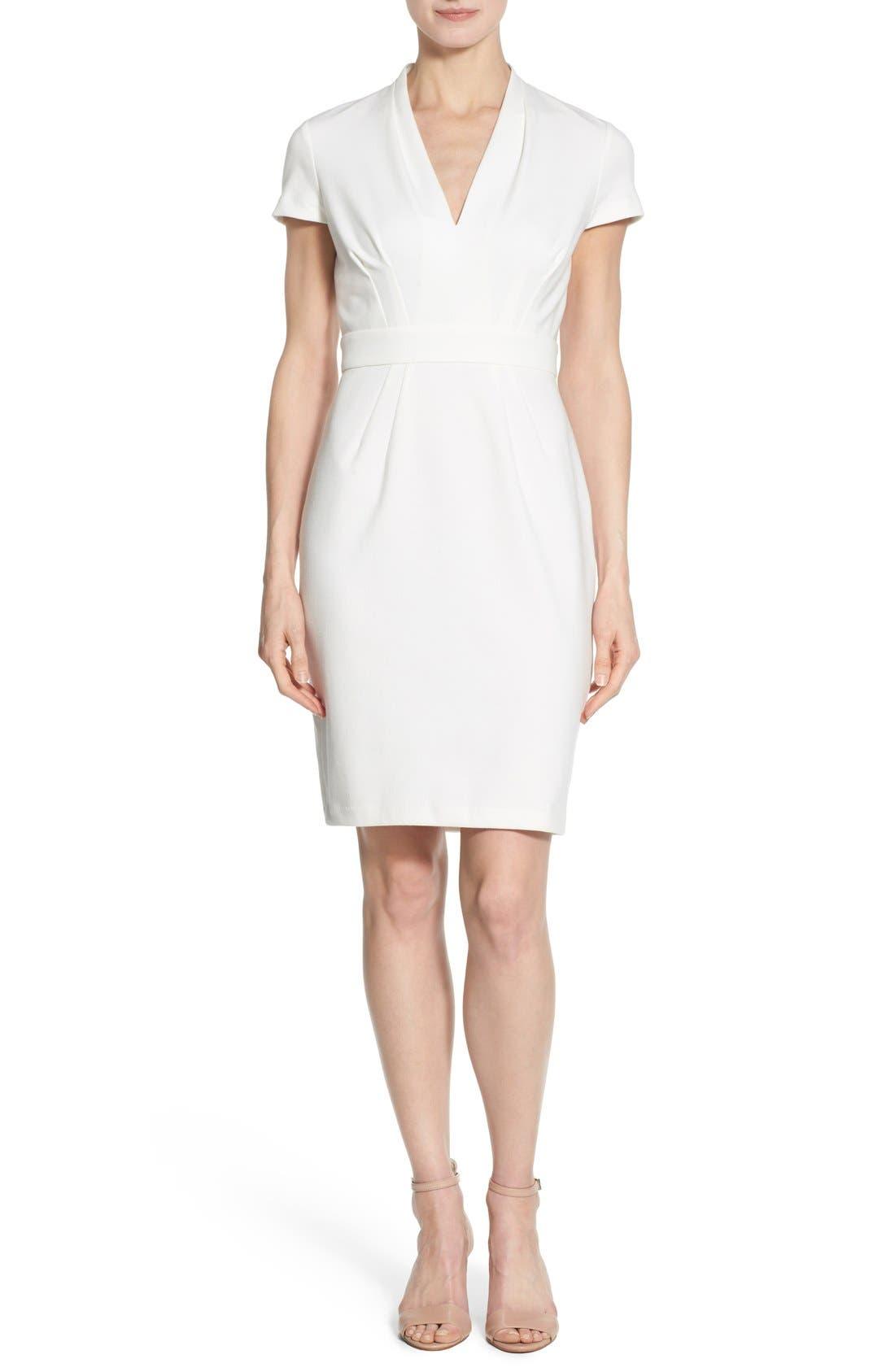 'Dale' V-Neck Sheath Dress,                             Main thumbnail 1, color,                             White