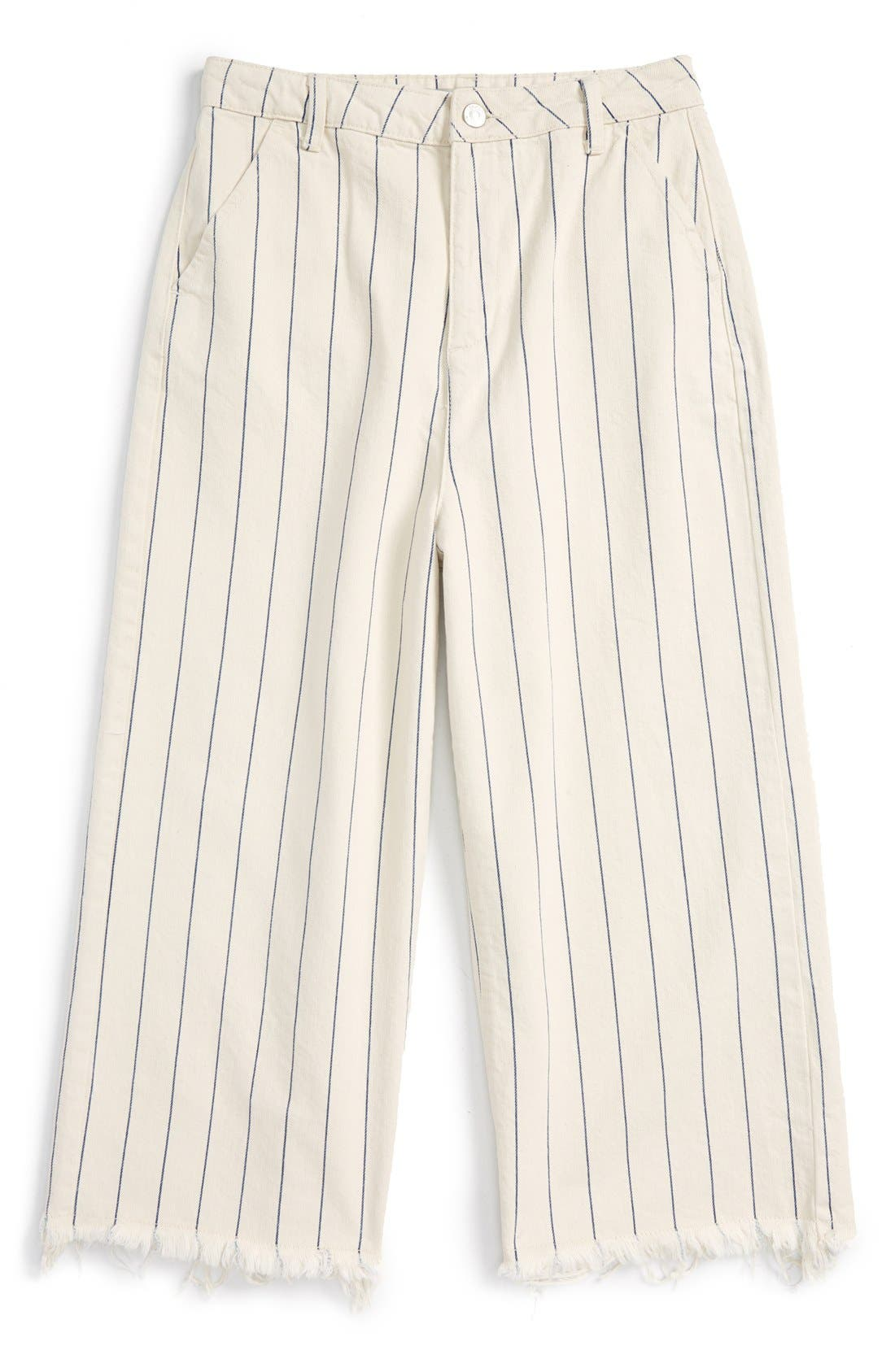 Alternate Image 5  - Topshop Pinstripe Frayed Culottes
