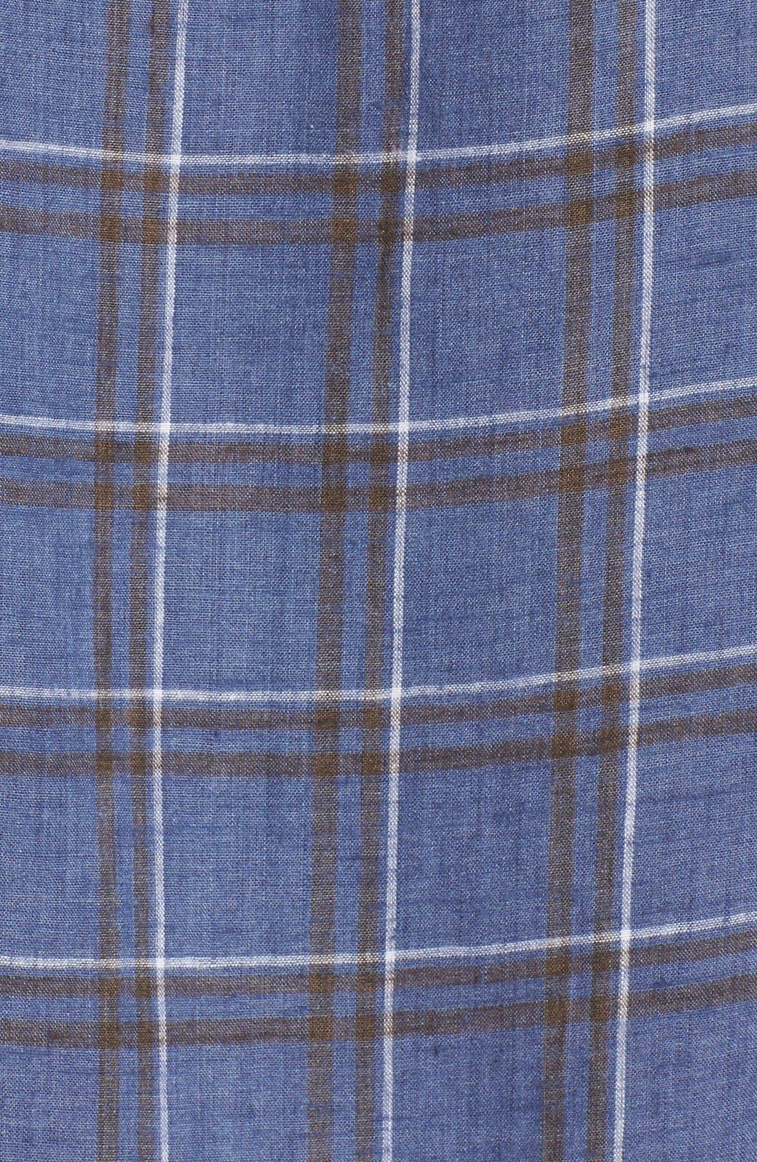 Alternate Image 5  - Singer + Sargent Plaid Brushed Linen Sport Shirt