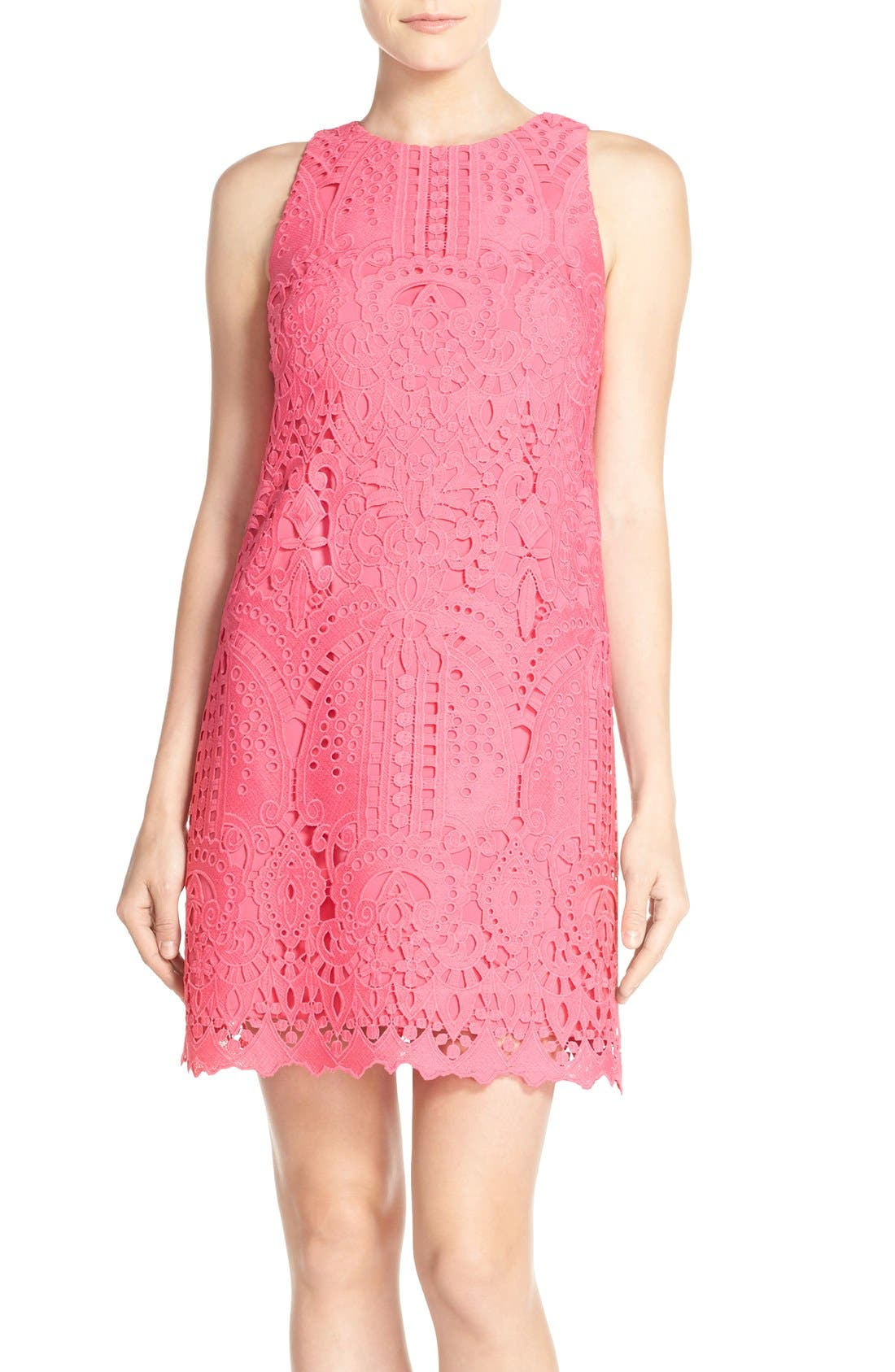 Lace Shift Dress,                             Main thumbnail 1, color,                             Pink