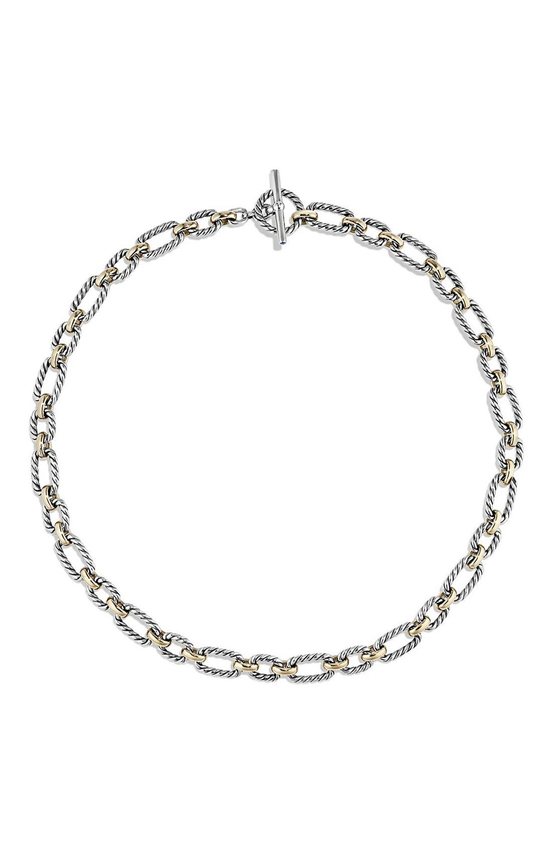 Alternate Image 2  - David Yurman 'Chain' Cushion Link Necklace with Sapphires & 18K Gold