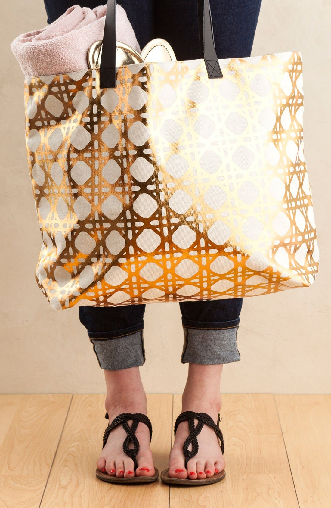 'Trellis' Tote,                             Alternate thumbnail 3, color,                             Metallic Gold