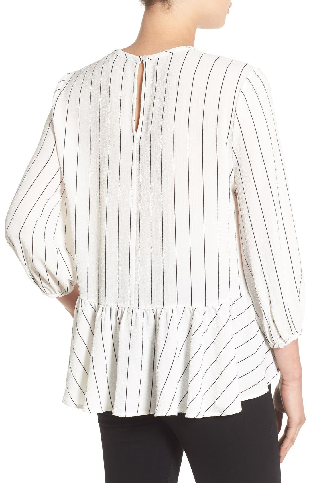 Stripe Ruffle Hem Shirt,                             Alternate thumbnail 3, color,                             Ivory Jules Stripe