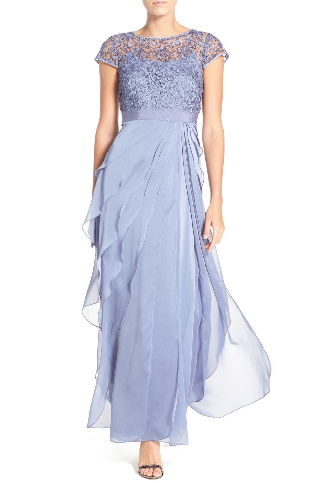 Main Image - Adrianna Papell Layered Chiffon & Lace Gown
