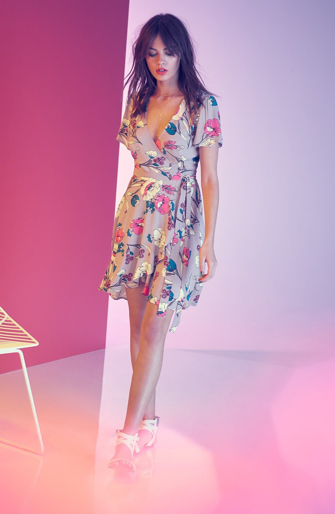 Alternate Image 6  - ASTR Floral Print Wrap Dress