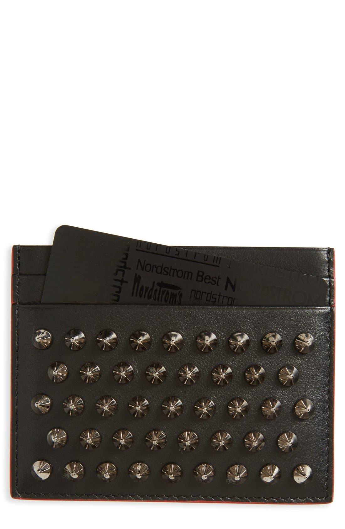'Kios' Spiked Calfskin Leather Card Case,                         Main,                         color, Black/ Gunmetal